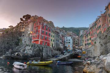 Riomaggiore, Cinque Terre, Italy surprised at sunset