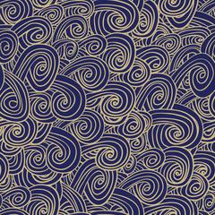 Doodle waves seamless pattern