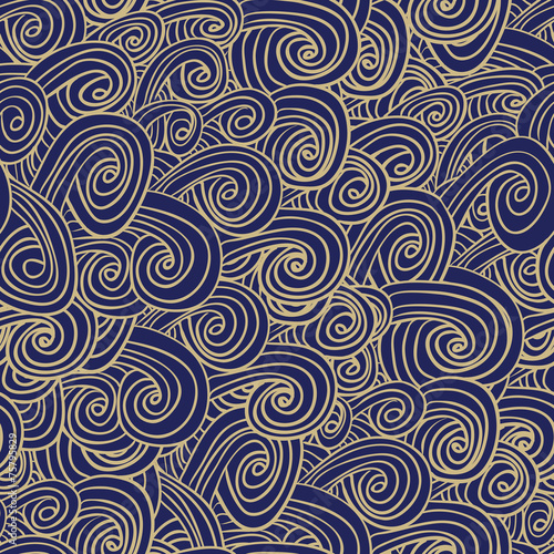 Doodle waves seamless pattern - 75795829