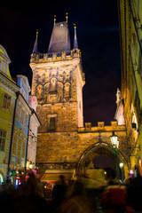 Prague, Czech Republic -  January 01, 2014:  Night photo of crow