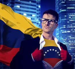 Businessman Superhero Country Venezuela Flag Culture Concept