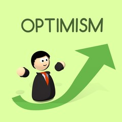 character with optimism up arrow