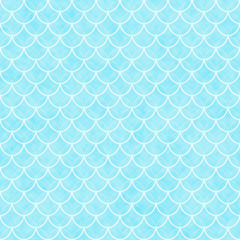 Teal and White Shells with Interlocking Circles Tiles Pattern Re