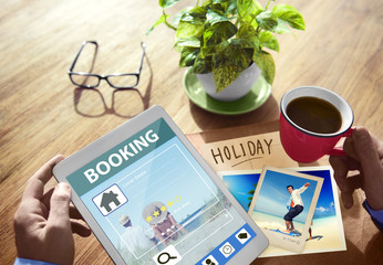 Summer Occasion Online Booking Digital Tablet Concept