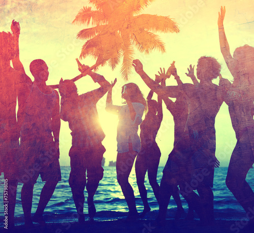 Young Adult Togetherness Party Fun Freedom Beach Concept - 75798015