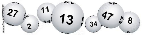 Bannière boules de loto pour le vendredi treize - 75798227