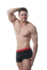muscular sportsman posing