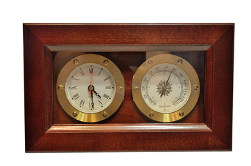 Watch the thermometer in a wooden case