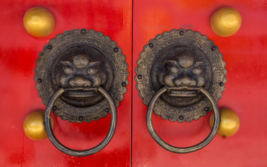 Handle door Chinese vintage style isolated with clipping path