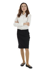 Business woman standing and smiling confidently