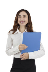 Business woman standing with a folder in her hands