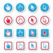 Hand and arrow cursor vector icons set