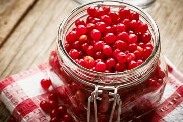 Jar with homemade viburnum jam