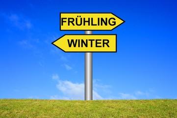 Schild / Wegweiser: Winterende Frühlingsanfang