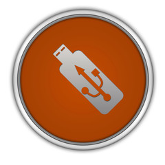 Usb circular icon on white background