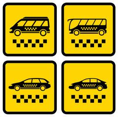 set four taxi icons