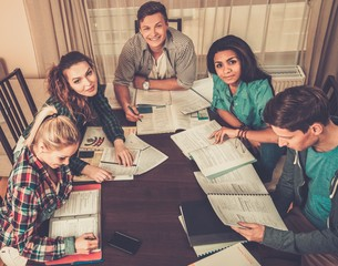 Multi ethnic group of students preparing for exams