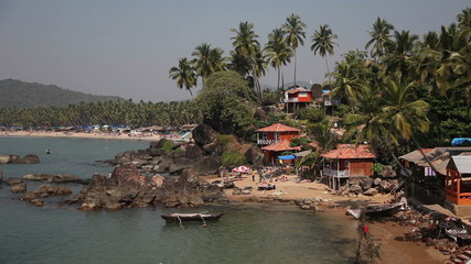 View of the beach Palolem in Goa, India