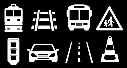 set white transport isolated icons on black background