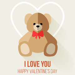 Teddy Bear Valentine's Day Card, Vector Flat Design