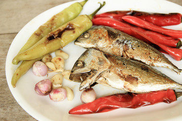 Fried Mackerel fish,and fried vegetable