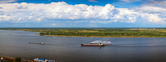 Panoramai view from the steep banks of the Volga