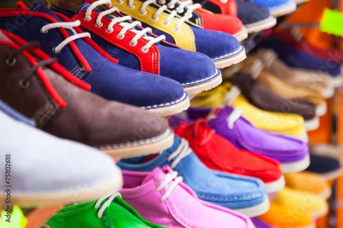Leinwanddruck Bild  sport shoes at fashionable shop