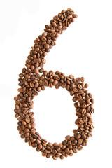 Zahl 2 aus Kaffeebohnen