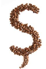 Buchstabe Sch mit Kaffeebohnen