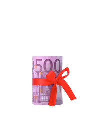 .money five hundred euros tied around a red ribbon