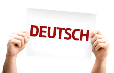 German (in German) card isolated on white background