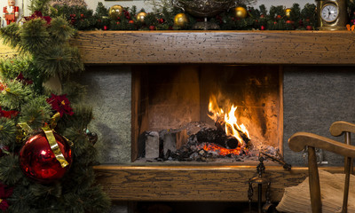 Christmas fireplace with decorations at home