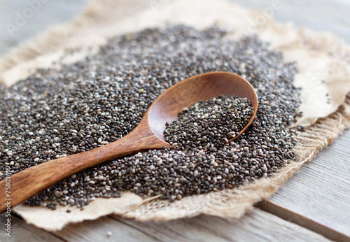 Chia seeds close up - 75803699