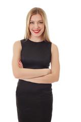 Happy office woman posing at camera