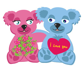 bears in love , isolated illustration