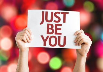 Just Be You card with colorful background