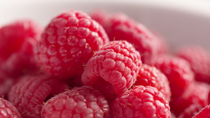 closeup footage of rotating raspberries, hd footage