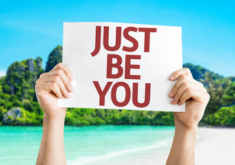 Just Be You card with a beach on background