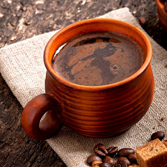 cup with coffee, breakfast coffe
