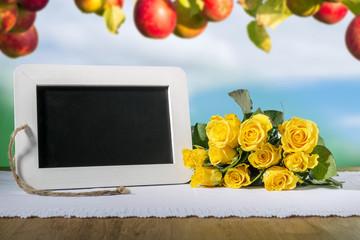 slate blackboard heart and roses