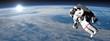 Astronaut or cosmonaut flying upon earth - 3D render - 75804634