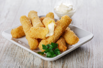 fried mozzarella cheese sticks breaded