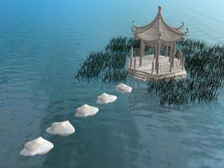 Steps to gazebo - 3D render