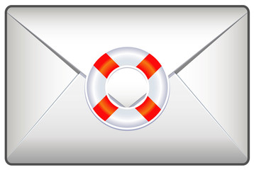 Mail envelope with help icon