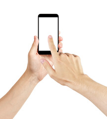 adult man hands using generic mobile phone with white screen