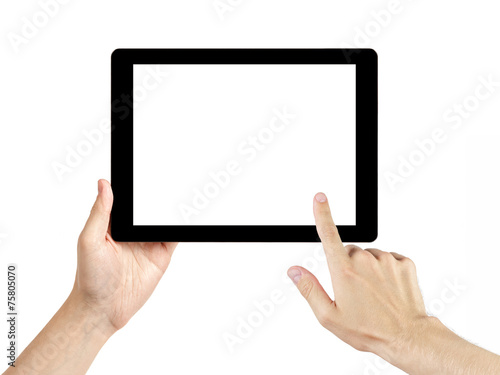 Leinwanddruck Bild adult man hands using generic tablet pc with white screen