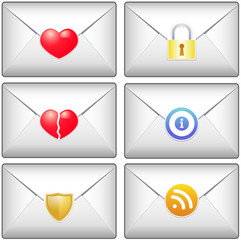 Various mail envelopes with icons