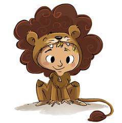 niño con disfraz de león