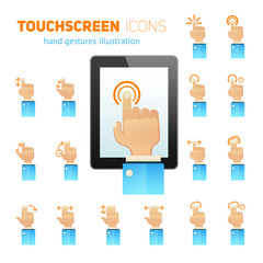 Touch screen gestures icons