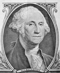 George Washington portrait on one dollar bill.